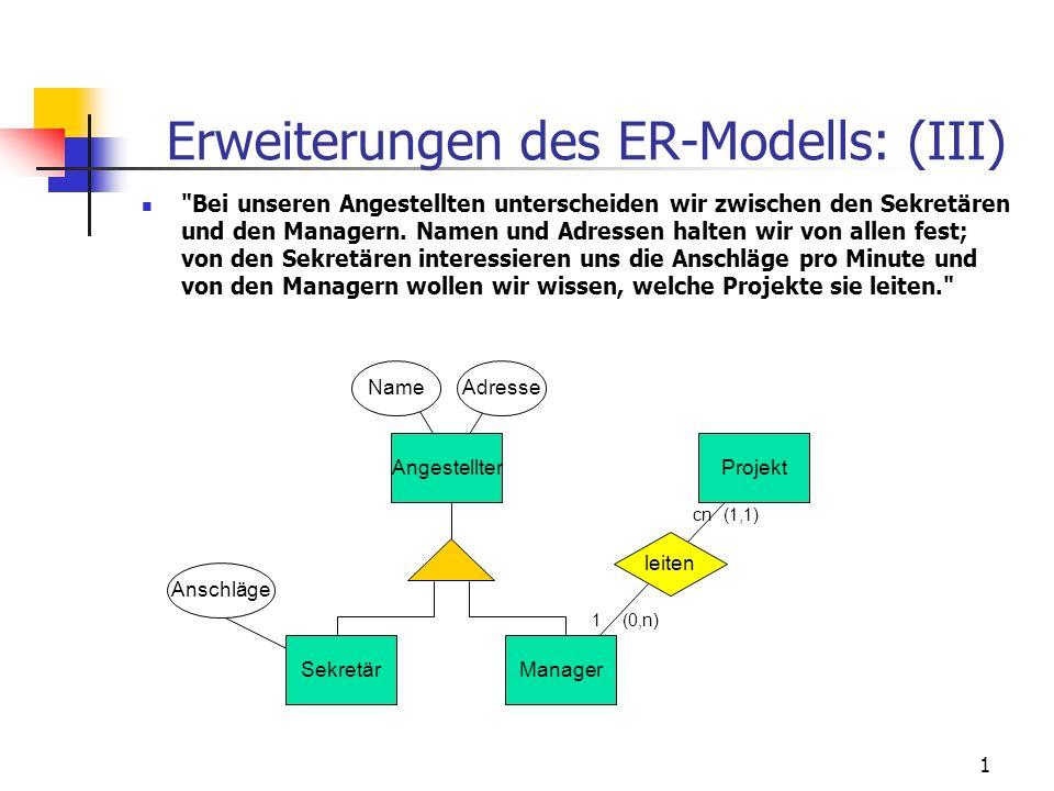 1 Erweiterungen des ER-Modells: (III) Bei unseren Angestellten unterscheiden wir zwischen den Sekretären und den Managern.