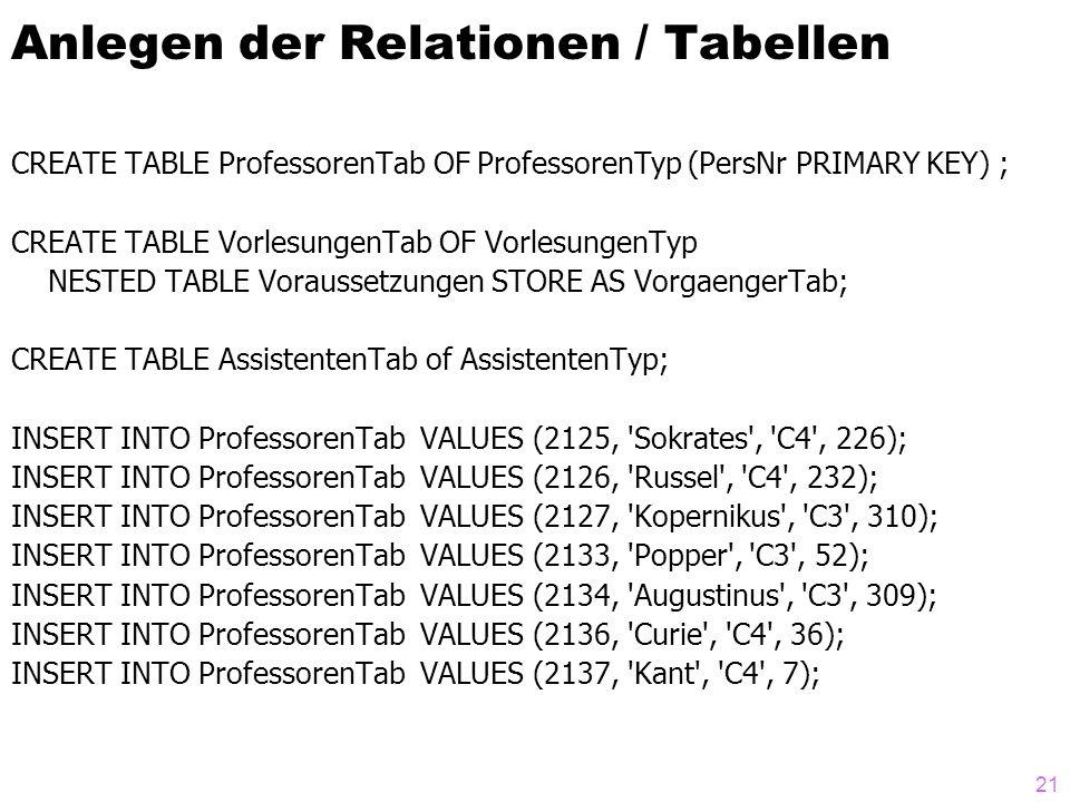 21 Anlegen der Relationen / Tabellen CREATE TABLE ProfessorenTab OF ProfessorenTyp (PersNr PRIMARY KEY) ; CREATE TABLE VorlesungenTab OF VorlesungenTy