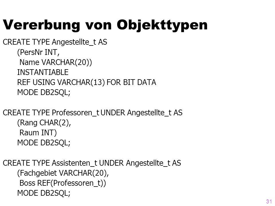 31 Vererbung von Objekttypen CREATE TYPE Angestellte_t AS (PersNr INT, Name VARCHAR(20)) INSTANTIABLE REF USING VARCHAR(13) FOR BIT DATA MODE DB2SQL;