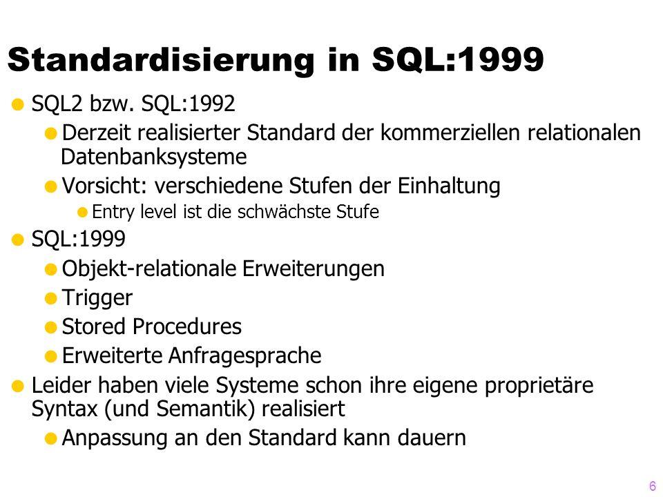 37 Komplexe Attribute/Column Types CREATE FUNCTION D_NotenObjTyp(l VARCHAR(20), n DECIMAL(3,2), s Char(10), lt VARCHAR(20)) RETURNS D_NotenObjTyp LANGUAGE SQL RETURN D_NotenObjTyp()..Land(l)..NumWert(n)..StringWert(s)..Lateinisch(l); INSERT INTO Leistungen VALUES ( Carnap , C++ , D_NotenObjTyp( D ,3.0, befriedigend , rite )); select Student, Vorlesung, Note..Land, Note..NumWert from Leistungen;