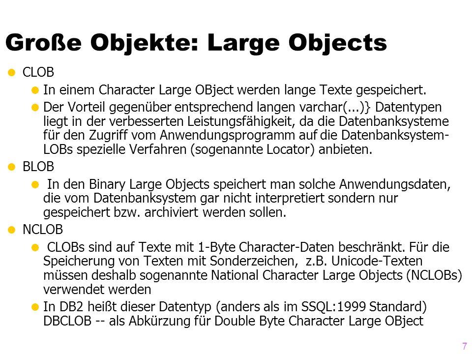 8 Beispiel-Anwendung von LOBs create table Professoren ( PersNr integer primary key, Name varchar(30) not null, Rang character(2) check (Rang in ( C2 , C3 , C4 )), Raum integer unique, Passfoto BLOB(2M), Lebenslauf CLOB(75K) ); LOB (Lebenslauf) store as ( tablespace Lebensläufe storage (initial 50M next 50M) );