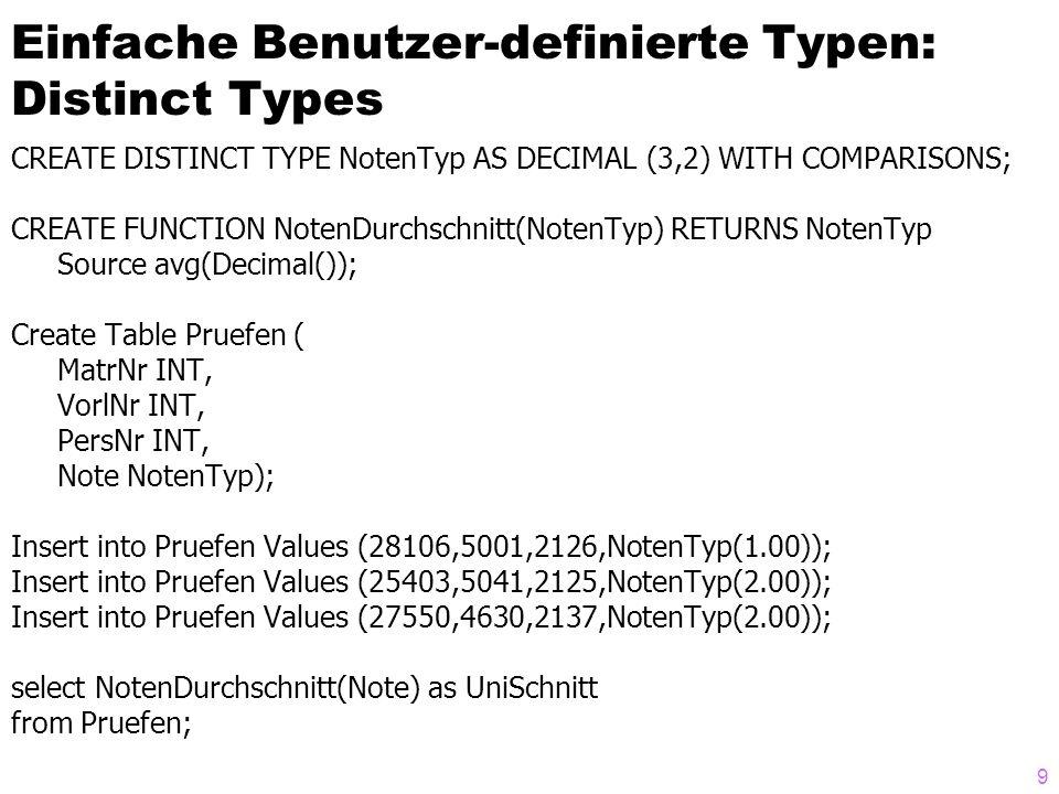 9 Einfache Benutzer-definierte Typen: Distinct Types CREATE DISTINCT TYPE NotenTyp AS DECIMAL (3,2) WITH COMPARISONS; CREATE FUNCTION NotenDurchschnit