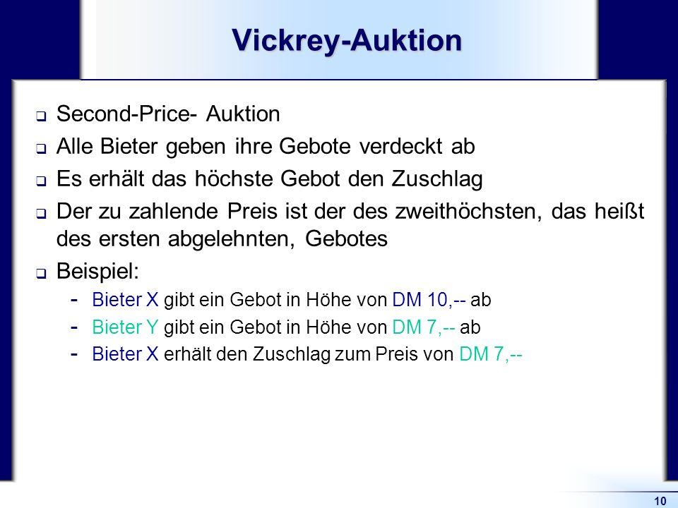 10Vickrey-Auktion Second-Price- Auktion Alle Bieter geben ihre Gebote verdeckt ab Es erhält das höchste Gebot den Zuschlag Der zu zahlende Preis ist d