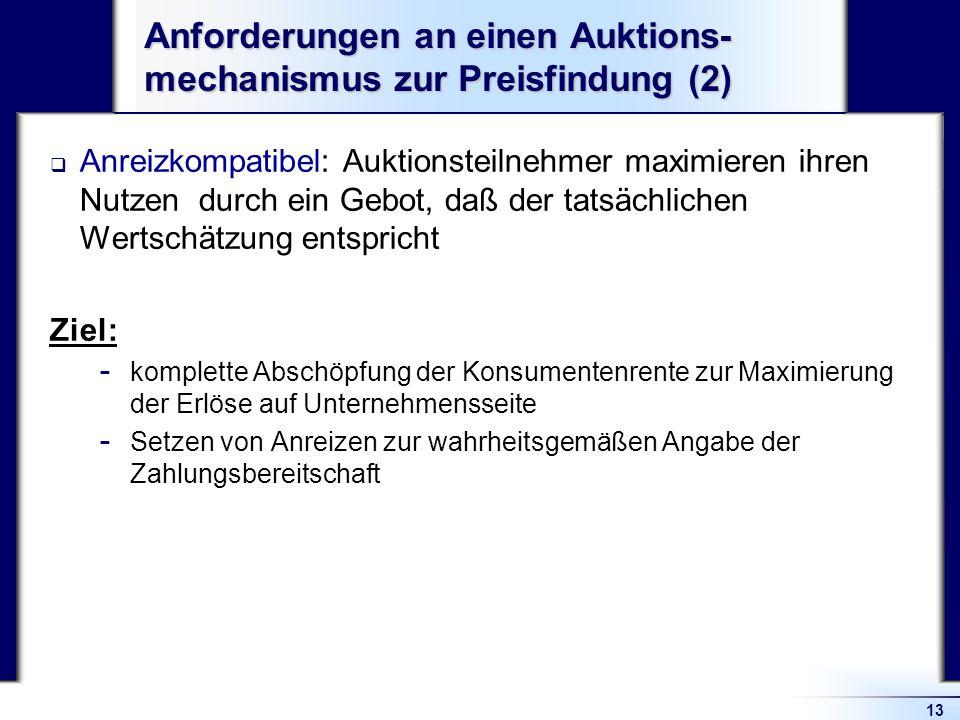 13 Anforderungen an einen Auktions- mechanismus zur Preisfindung (2) Anreizkompatibel: Auktionsteilnehmer maximieren ihren Nutzen durch ein Gebot, daß