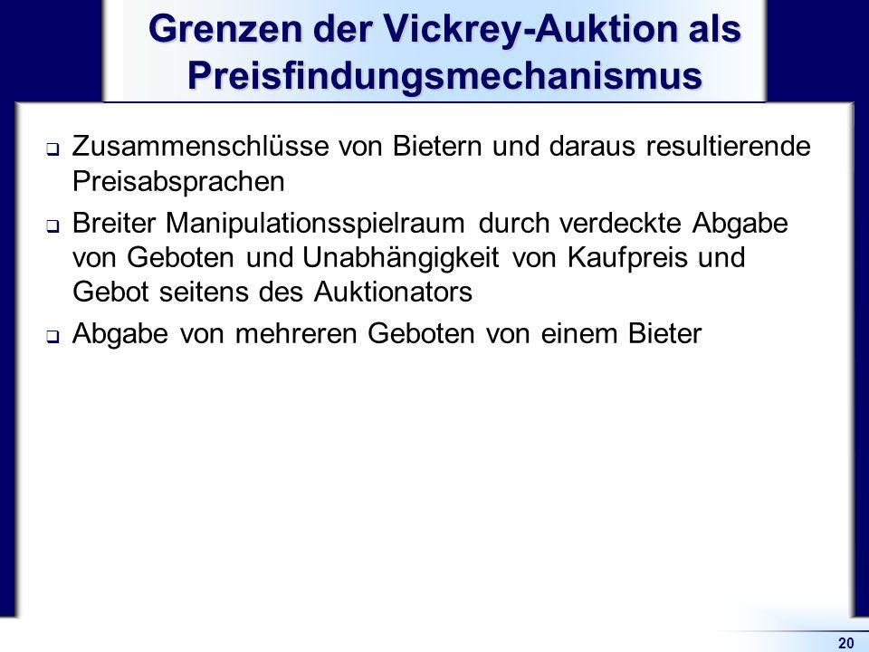 20 Grenzen der Vickrey-Auktion als Preisfindungsmechanismus Zusammenschlüsse von Bietern und daraus resultierende Preisabsprachen Breiter Manipulation