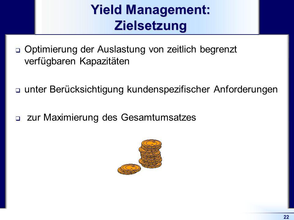 22 Yield Management: Zielsetzung Optimierung der Auslastung von zeitlich begrenzt verfügbaren Kapazitäten unter Berücksichtigung kundenspezifischer An