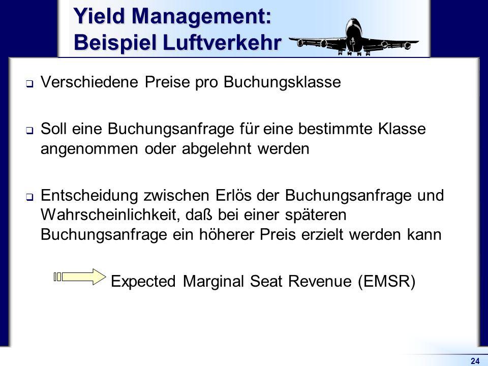 24 Yield Management: Beispiel Luftverkehr Verschiedene Preise pro Buchungsklasse Soll eine Buchungsanfrage für eine bestimmte Klasse angenommen oder a