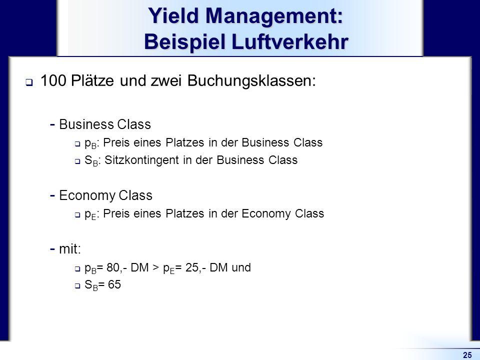 25 Yield Management: Beispiel Luftverkehr 100 Plätze und zwei Buchungsklassen:  Business Class p B : Preis eines Platzes in der Business Class S B :
