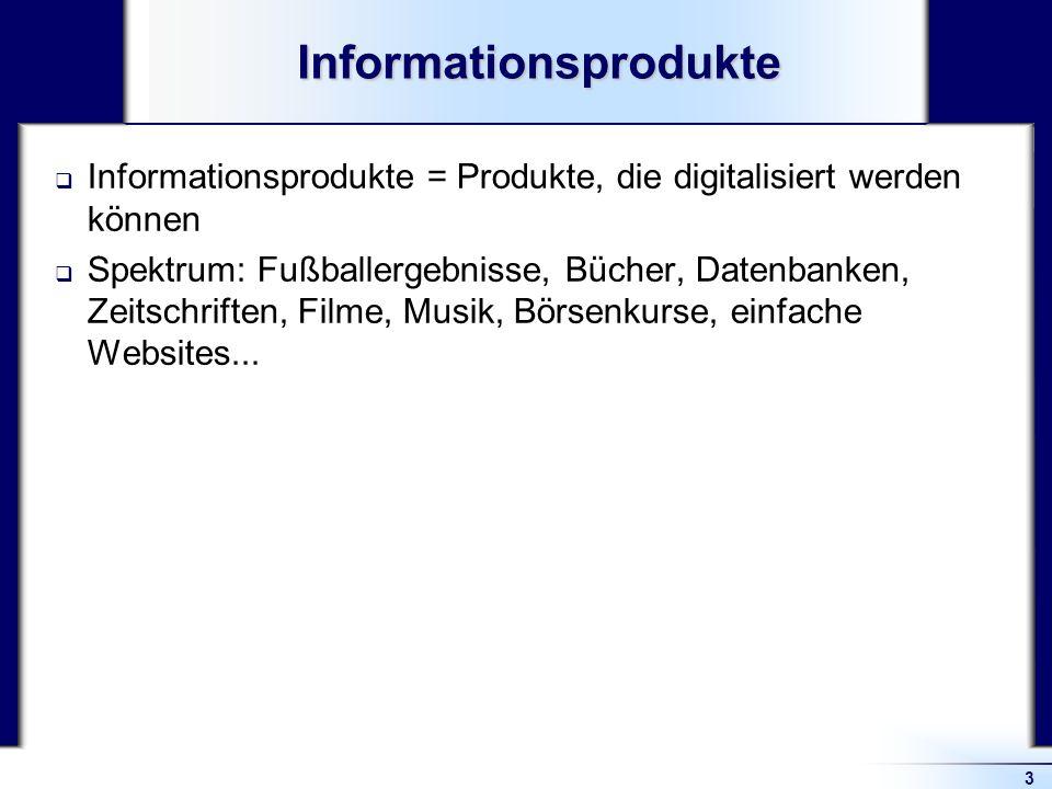 3Informationsprodukte Informationsprodukte = Produkte, die digitalisiert werden können Spektrum: Fußballergebnisse, Bücher, Datenbanken, Zeitschriften