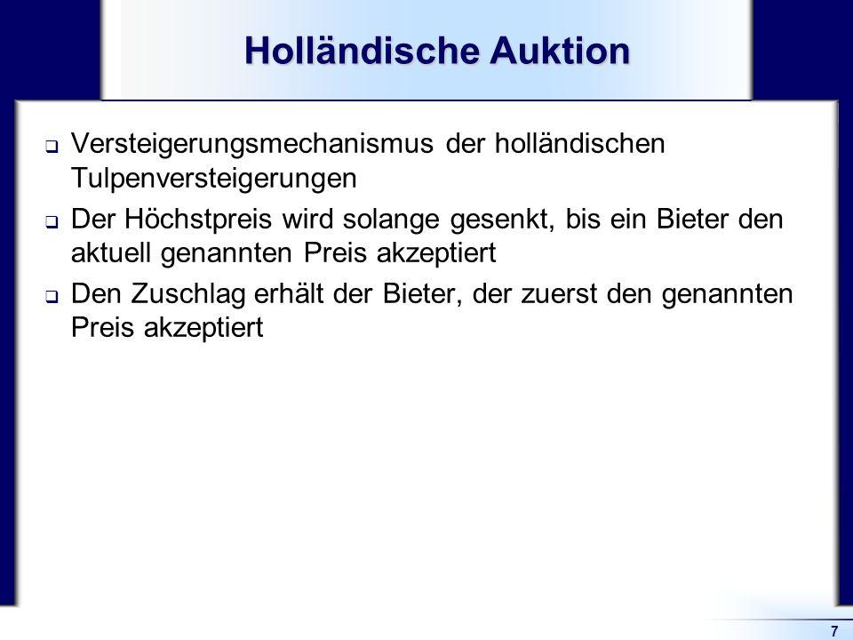 7 Holländische Auktion Versteigerungsmechanismus der holländischen Tulpenversteigerungen Der Höchstpreis wird solange gesenkt, bis ein Bieter den aktu