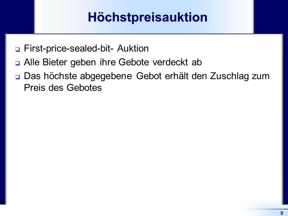 9Höchstpreisauktion First-price-sealed-bit- Auktion Alle Bieter geben ihre Gebote verdeckt ab Das höchste abgegebene Gebot erhält den Zuschlag zum Pre