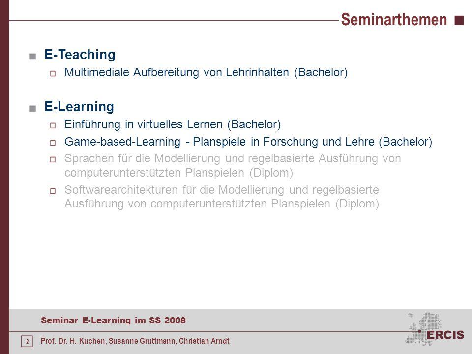 1 Seminar E-Learning im SS 2008 Prof. Dr. H. Kuchen, Susanne Gruttmann, Christian Arndt Motivation E-Learning in der Hochschullehre Digitaler Wandel i
