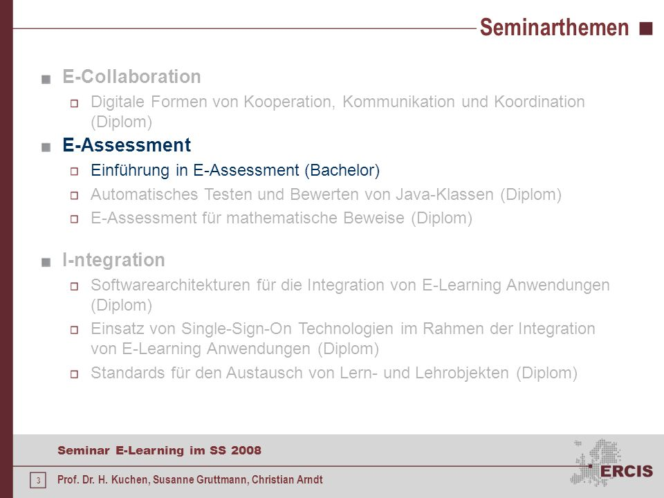 3 Seminar E-Learning im SS 2008 Prof.Dr. H.