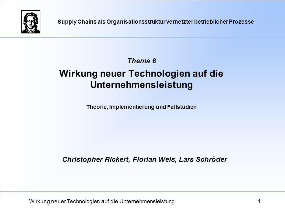 Wirkung neuer Technologien auf die Unternehmensleistung1 Thema 6 Wirkung neuer Technologien auf die Unternehmensleistung Christopher Rickert, Florian