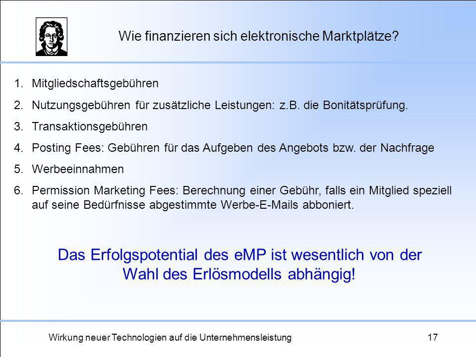 Wirkung neuer Technologien auf die Unternehmensleistung17 Wie finanzieren sich elektronische Marktplätze? 1.Mitgliedschaftsgebühren 2.Nutzungsgebühren