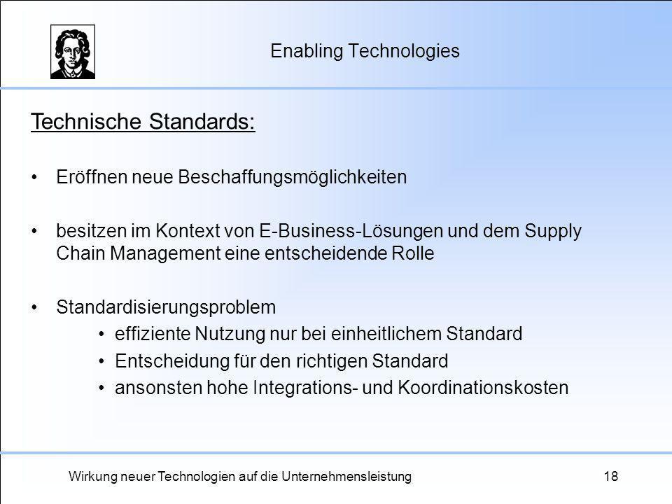 Wirkung neuer Technologien auf die Unternehmensleistung18 Enabling Technologies Technische Standards: Eröffnen neue Beschaffungsmöglichkeiten besitzen