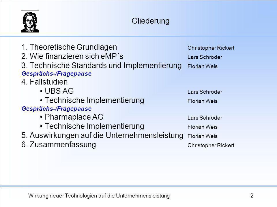 Wirkung neuer Technologien auf die Unternehmensleistung2 Gliederung 1. Theoretische Grundlagen Christopher Rickert 2. Wie finanzieren sich eMP´s Lars