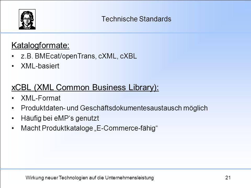 Wirkung neuer Technologien auf die Unternehmensleistung21 Technische Standards Katalogformate: z.B. BMEcat/openTrans, cXML, cXBL XML-basiert xCBL (XML