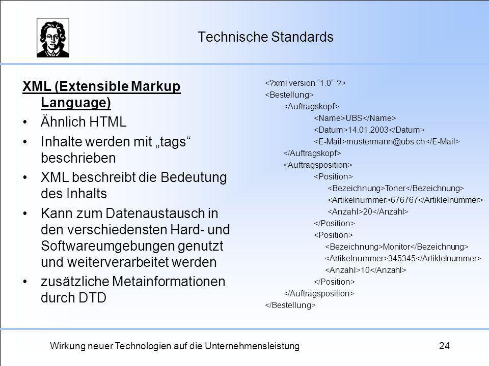 Wirkung neuer Technologien auf die Unternehmensleistung24 Technische Standards XML (Extensible Markup Language) Ähnlich HTML Inhalte werden mit tags b