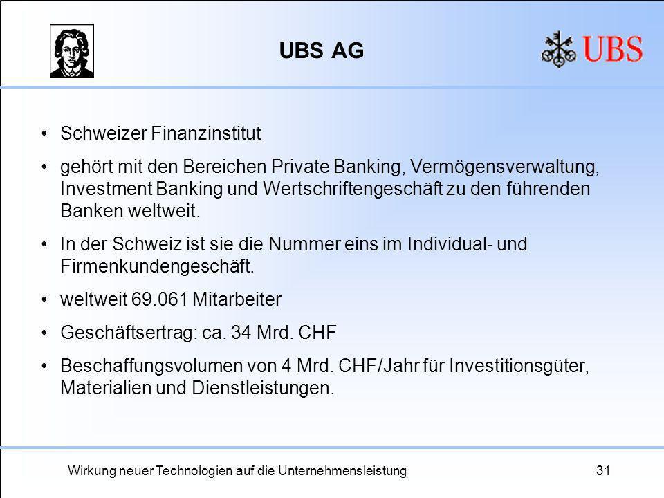 Wirkung neuer Technologien auf die Unternehmensleistung31 UBS AG Schweizer Finanzinstitut gehört mit den Bereichen Private Banking, Vermögensverwaltun