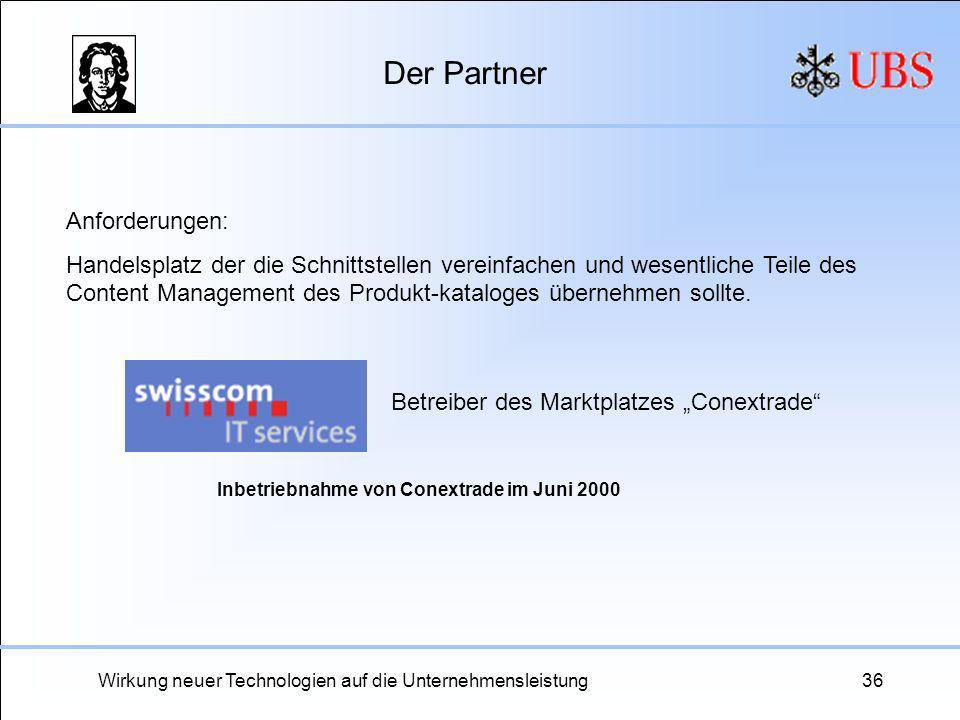 Wirkung neuer Technologien auf die Unternehmensleistung36 Der Partner Betreiber des Marktplatzes Conextrade Anforderungen: Handelsplatz der die Schnit