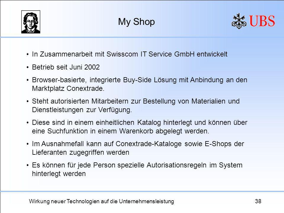 Wirkung neuer Technologien auf die Unternehmensleistung38 My Shop In Zusammenarbeit mit Swisscom IT Service GmbH entwickelt Betrieb seit Juni 2002 Bro