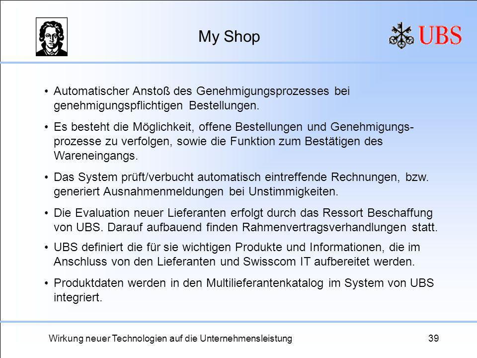 Wirkung neuer Technologien auf die Unternehmensleistung39 My Shop Automatischer Anstoß des Genehmigungsprozesses bei genehmigungspflichtigen Bestellun