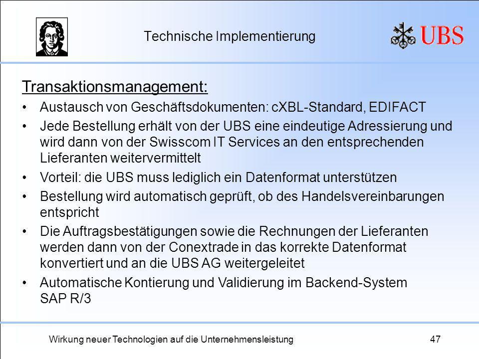 Wirkung neuer Technologien auf die Unternehmensleistung47 Technische Implementierung Transaktionsmanagement: Austausch von Geschäftsdokumenten: cXBL-S