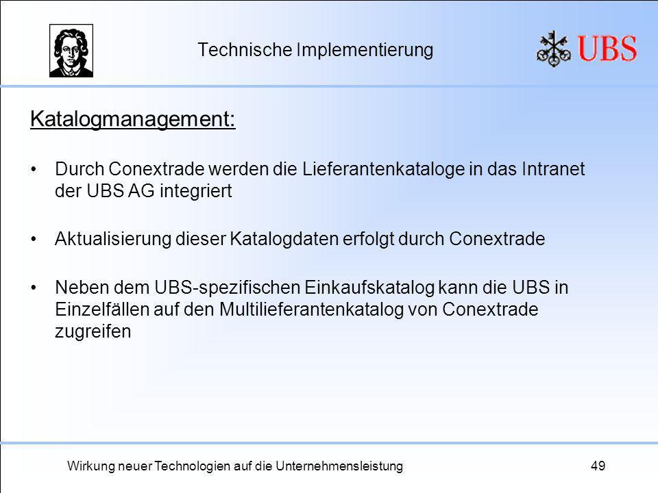 Wirkung neuer Technologien auf die Unternehmensleistung49 Technische Implementierung Katalogmanagement: Durch Conextrade werden die Lieferantenkatalog