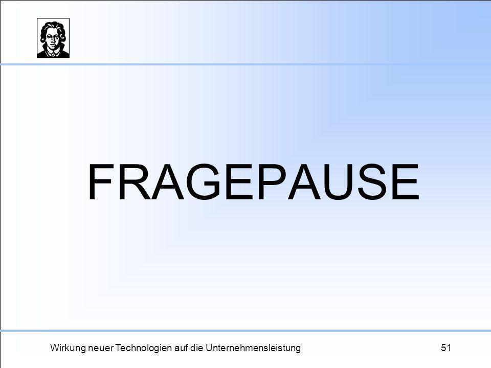 Wirkung neuer Technologien auf die Unternehmensleistung51 FRAGEPAUSE