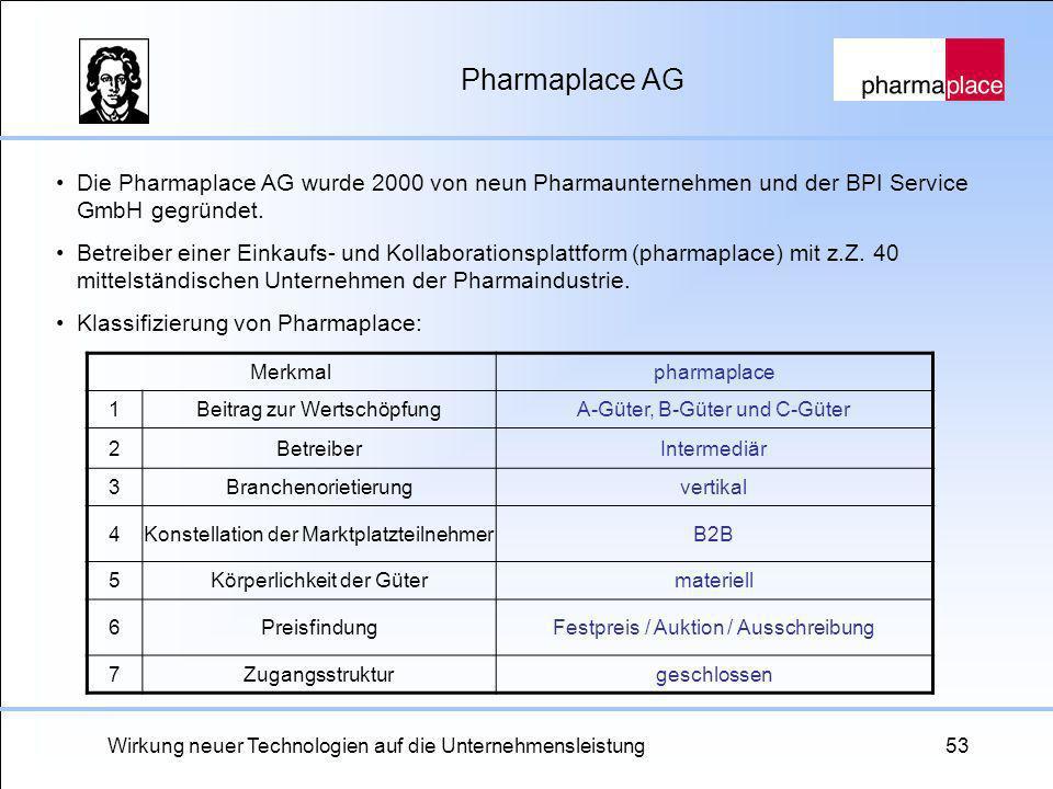 Wirkung neuer Technologien auf die Unternehmensleistung53 Pharmaplace AG Die Pharmaplace AG wurde 2000 von neun Pharmaunternehmen und der BPI Service