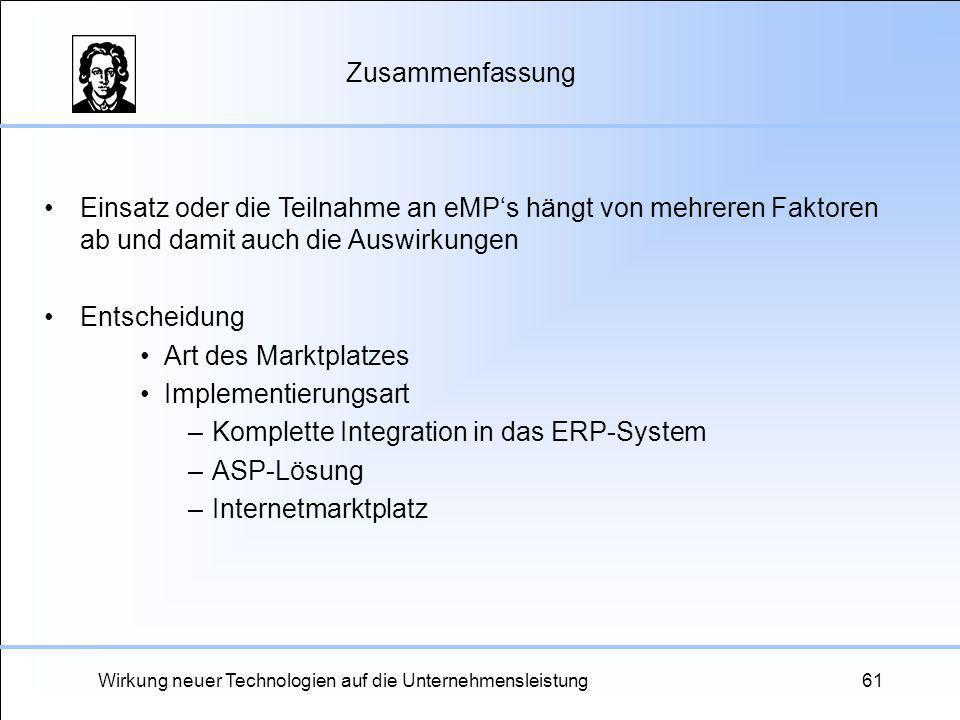 Wirkung neuer Technologien auf die Unternehmensleistung61 Zusammenfassung Einsatz oder die Teilnahme an eMPs hängt von mehreren Faktoren ab und damit