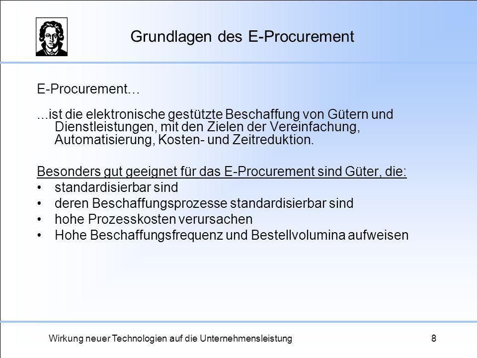 Wirkung neuer Technologien auf die Unternehmensleistung8 Grundlagen des E-Procurement E-Procurement…...ist die elektronische gestützte Beschaffung von