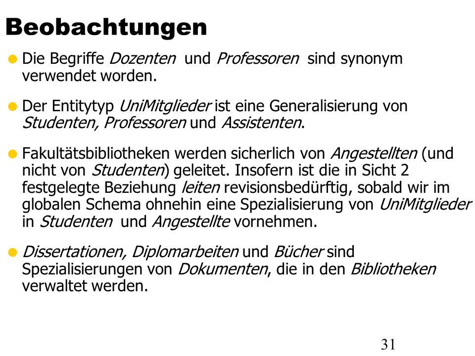 31 Beobachtungen Die Begriffe Dozenten und Professoren sind synonym verwendet worden. Der Entitytyp UniMitglieder ist eine Generalisierung von Student