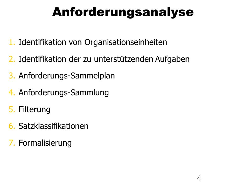 4 Anforderungsanalyse 1.Identifikation von Organisationseinheiten 2.Identifikation der zu unterstützenden Aufgaben 3.Anforderungs-Sammelplan 4.Anforde