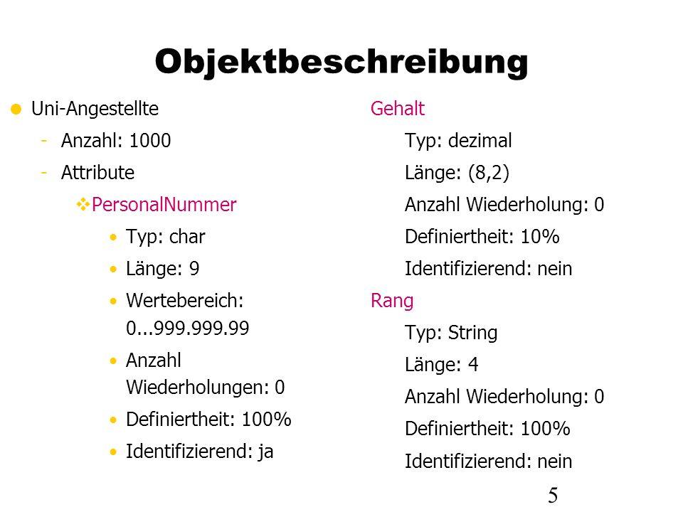5 Objektbeschreibung Uni-Angestellte -Anzahl: 1000 -Attribute PersonalNummer Typ: char Länge: 9 Wertebereich: 0...999.999.99 Anzahl Wiederholungen: 0