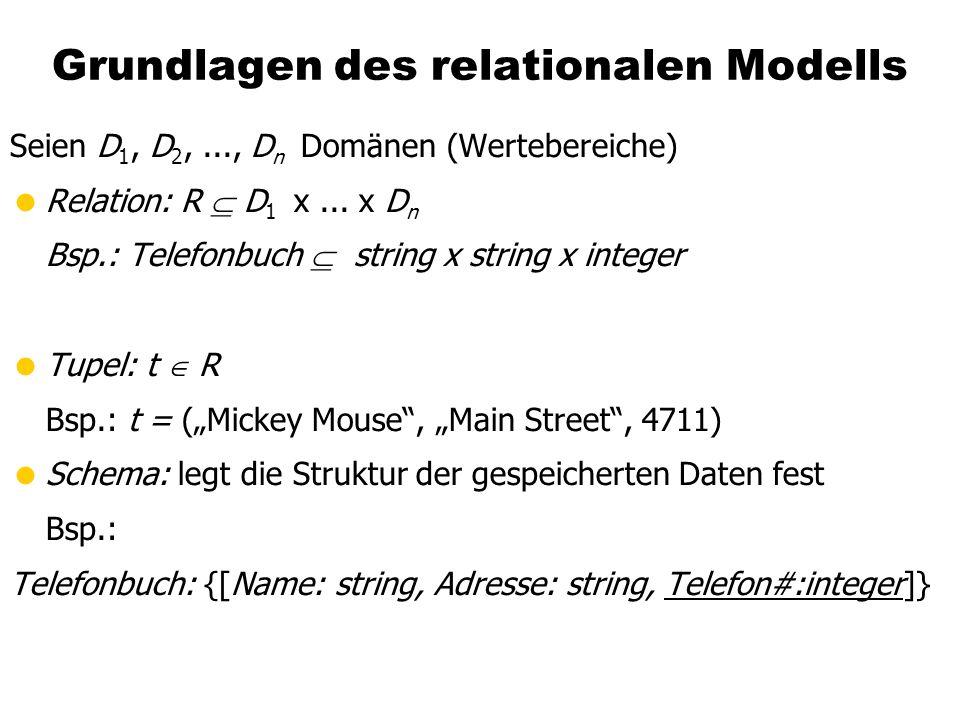 Grundlagen des relationalen Modells Seien D 1, D 2,..., D n Domänen (Wertebereiche) Relation: R D 1 x... x D n Bsp.: Telefonbuch string x string x int