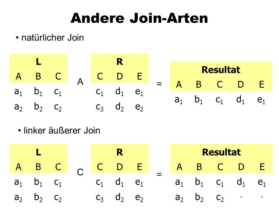 Andere Join-Arten natürlicher Join L ABC a1a1 b1b1 c1c1 a2a2 b2b2 c2c2 R CDE c1c1 d1d1 e1e1 c3c3 d2d2 e2e2 A = Resultat ABCDE a1a1 b1b1 c1c1 d1d1 e1e1