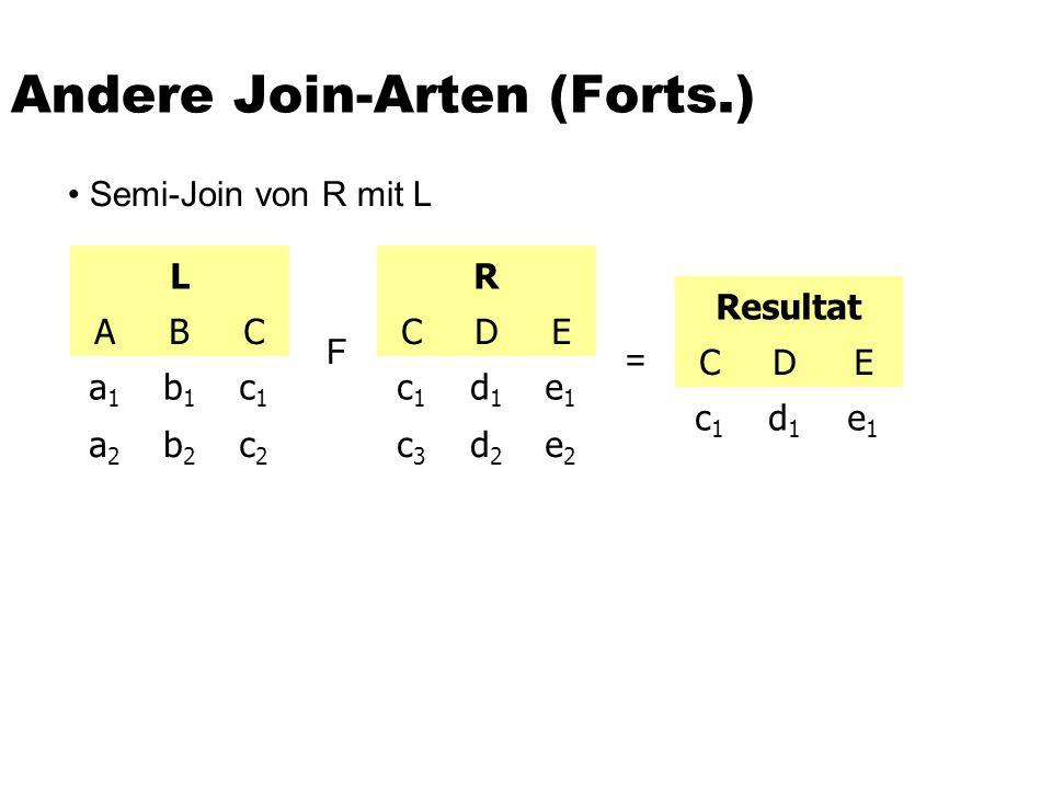 Andere Join-Arten (Forts.) L ABC a1a1 b1b1 c1c1 a2a2 b2b2 c2c2 R CDE c1c1 d1d1 e1e1 c3c3 d2d2 e2e2 Resultat CDE c1c1 d1d1 e1e1 F = Semi-Join von R mit
