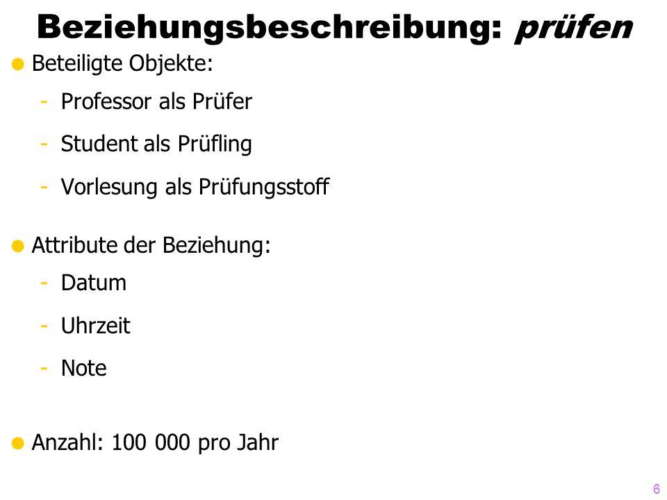 7 Prozeßbeschreibungen Prozeßbeschreibung: Zeugnisausstellung -Häufigkeit: halbjährlich -benötigte Daten Prüfungen Studienordnungen Studenteninformation...