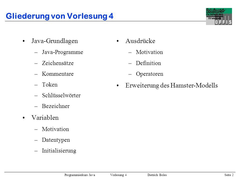 Programmierkurs Java Vorlesung 4 Dietrich Boles Seite 2 Gliederung von Vorlesung 4 Java-Grundlagen –Java-Programme –Zeichensätze –Kommentare –Token –S