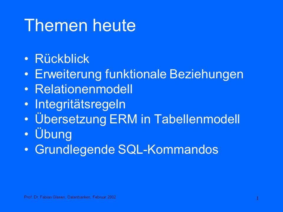 2 Rückblick E/R-Modell Entity, Entity-Typen, Attribute, Domänen Relationship-Typ / Beziehungstyp Funktionale Beziehungen(1:1, 1:n, n:1, n:m) ISA-Relationship –total / partiell –disjunkt / nicht disjunkt Schlüsselattribute –Schlüsselkandidat –Primärschlüssel –Fremdschlüssel –Zusammengesetzter Schlüssel Prof.