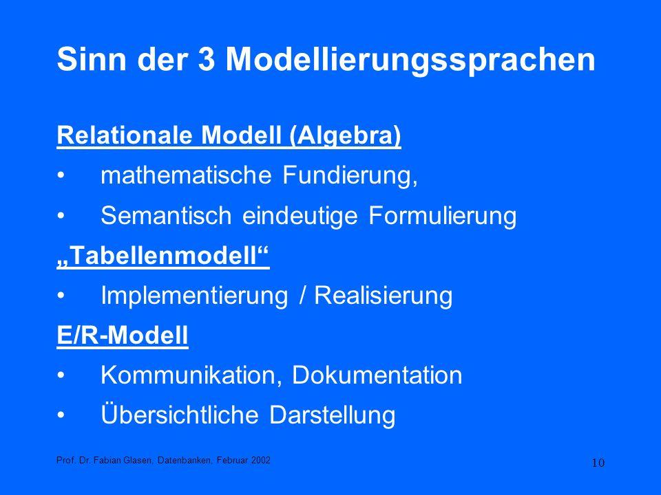 10 Sinn der 3 Modellierungssprachen Relationale Modell (Algebra) mathematische Fundierung, Semantisch eindeutige Formulierung Tabellenmodell Implement