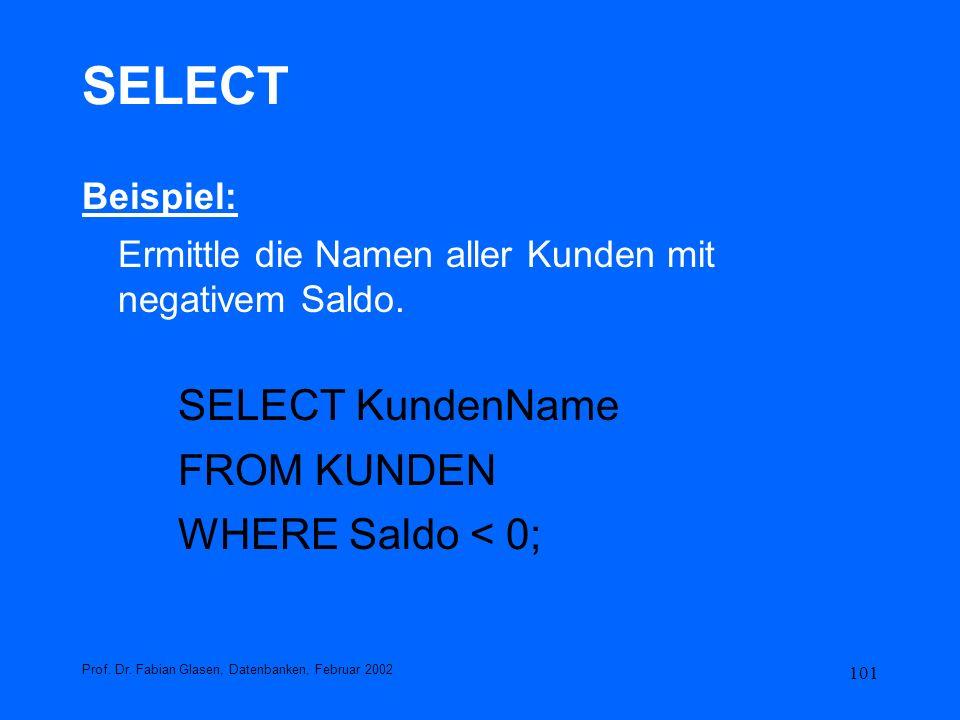 101 SELECT Beispiel: Ermittle die Namen aller Kunden mit negativem Saldo. SELECT KundenName FROM KUNDEN WHERE Saldo < 0; Prof. Dr. Fabian Glasen, Date