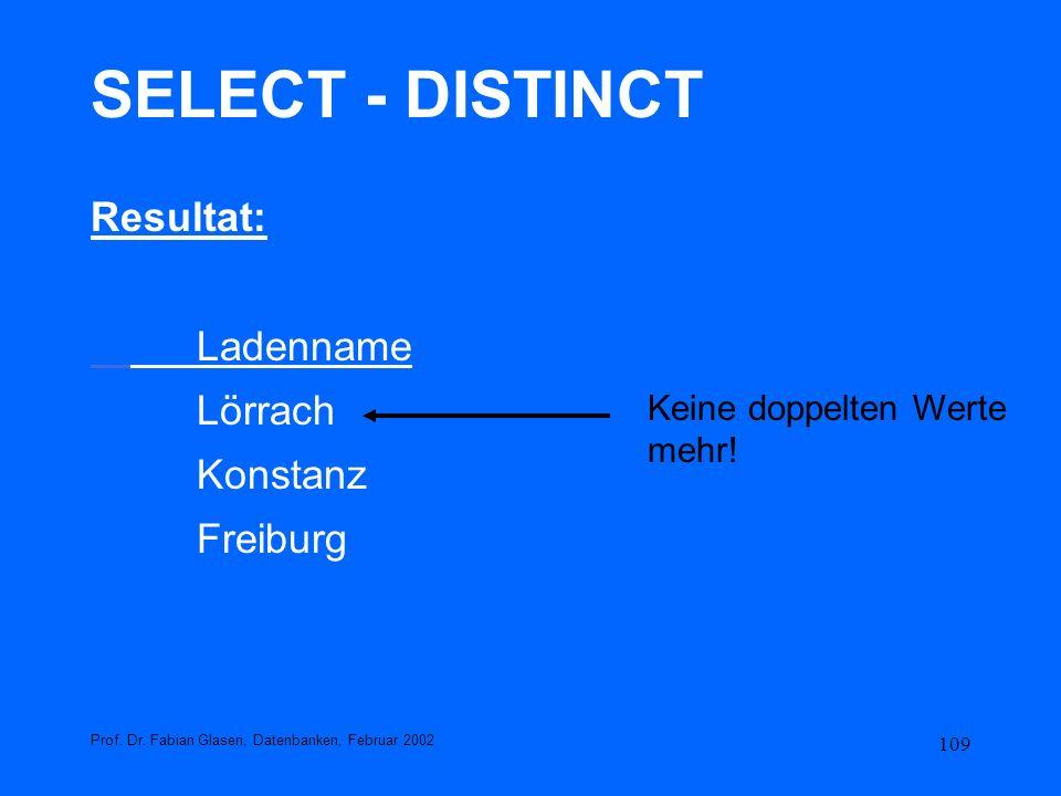 109 SELECT - DISTINCT Resultat: Ladenname Lörrach Konstanz Freiburg Prof. Dr. Fabian Glasen, Datenbanken, Februar 2002 Keine doppelten Werte mehr!