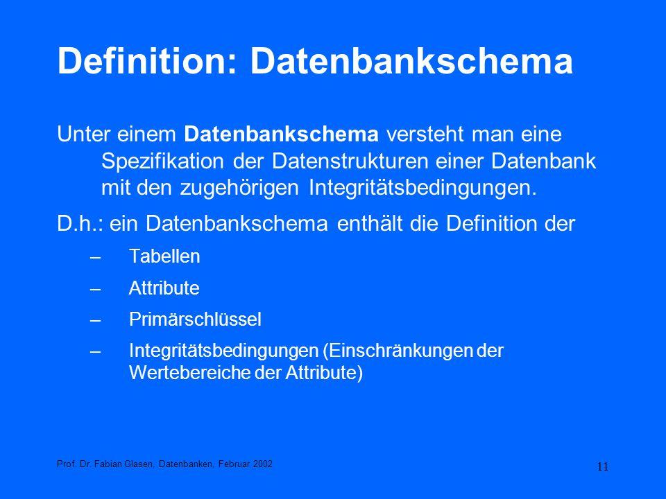 11 Definition: Datenbankschema Unter einem Datenbankschema versteht man eine Spezifikation der Datenstrukturen einer Datenbank mit den zugehörigen Int