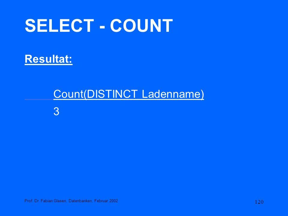 120 SELECT - COUNT Resultat: Count(DISTINCT Ladenname) 3 Prof. Dr. Fabian Glasen, Datenbanken, Februar 2002