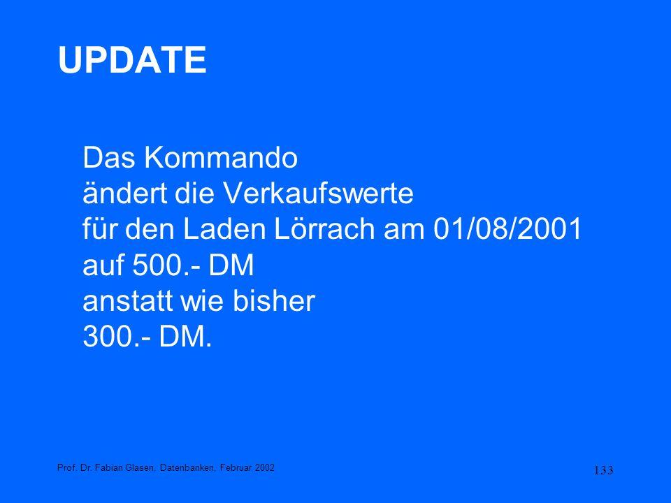133 UPDATE Das Kommando ändert die Verkaufswerte für den Laden Lörrach am 01/08/2001 auf 500.- DM anstatt wie bisher 300.- DM. Prof. Dr. Fabian Glasen