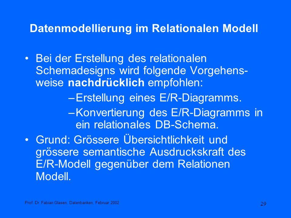 29 Datenmodellierung im Relationalen Modell Bei der Erstellung des relationalen Schemadesigns wird folgende Vorgehens- weise nachdrücklich empfohlen:
