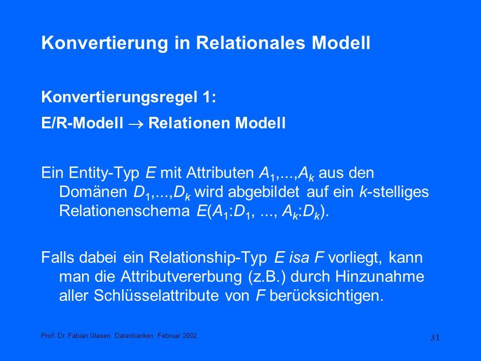 31 Konvertierung in Relationales Modell Konvertierungsregel 1: E/R-Modell Relationen Modell Ein Entity-Typ E mit Attributen A 1,...,A k aus den Domäne